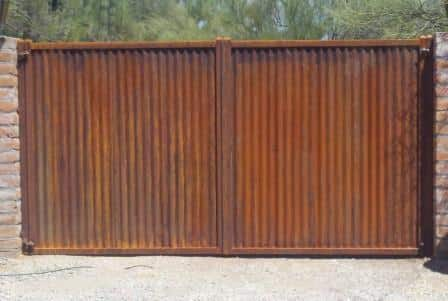 Corrugated Steel Double Gate | Metal Gate | Rusted Metal Gate