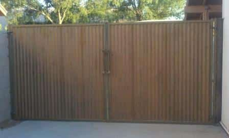Corrugated Steel Double Gate | Rusted Metal Gate