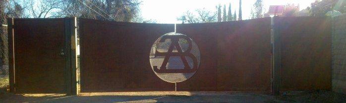 Driveway Gate | Double Gate | Rusted Metal Gate | Custom Gate with Initials