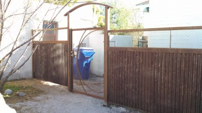 Corrugated Steel Fence with Abstract Gate | CF219