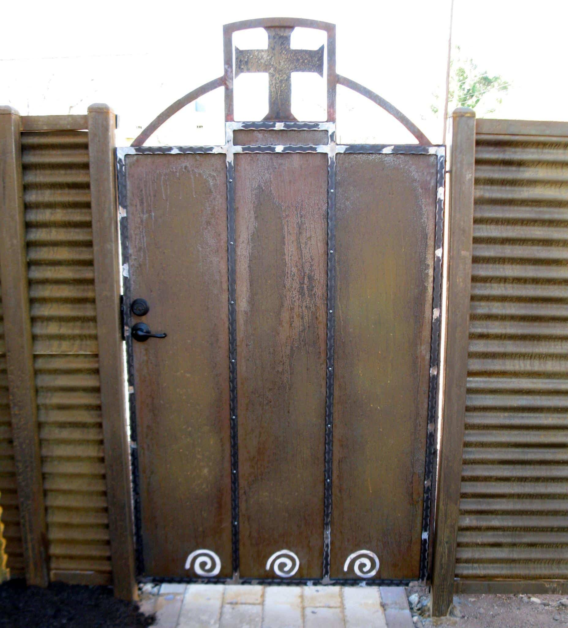 Corrugated Steel Gate | Rusted Metal Gate | Mission Style Rusted Gate