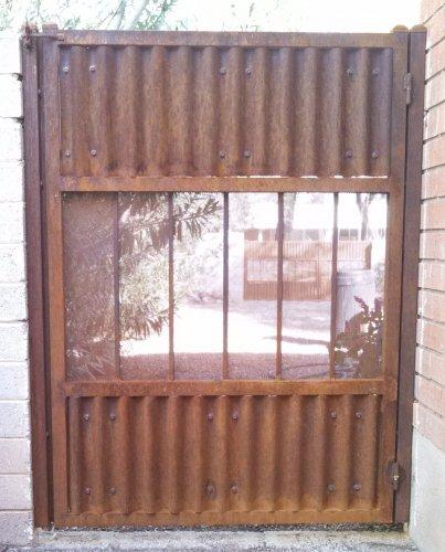 Corrugated Steel Gate | Metal Gate | Rusted Metal Gate | Corrugated Steel Gate with View Panel