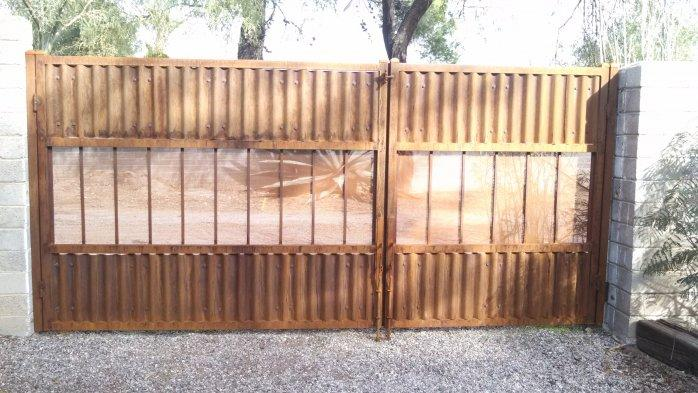 Corrugated Steel Double Gate | Metal Gate | Rusted Metal Gate | Corrugated Steel Double Gate with View Panels
