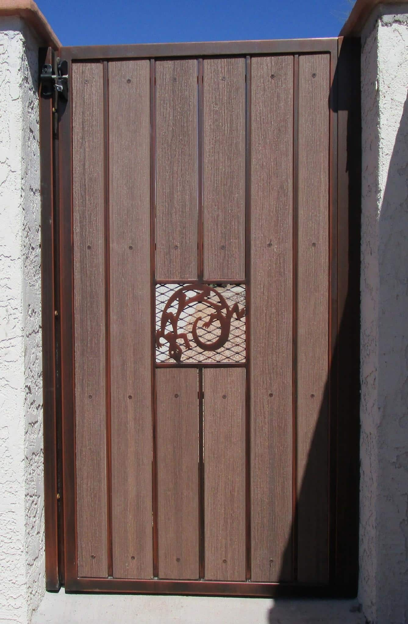 Iron wood gates · affordable fence