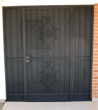 Black porch security enclosure with swirls - security doors and side panels E11 - made in tucson
