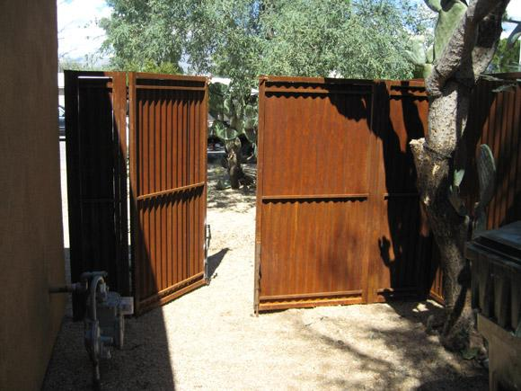 Corrugated Steel Fence | Metal Fence | Rusted Corrugated Metal Fence with Double Gate