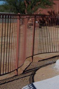 Curved Wrought Iron Fence with rust patina IF204