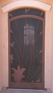 Front door security enclosure E344 with ocotillo motif - installed in Tucson