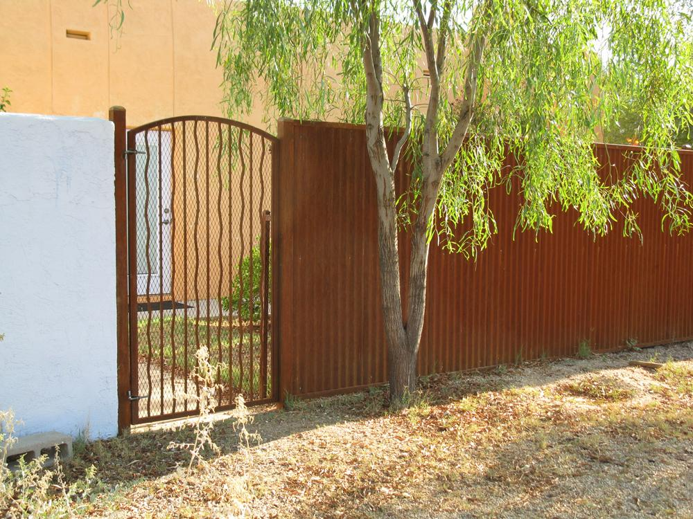 Corrugated Steel Fence | Metal Fence | Rusted Corrugated Metal Fence with Gate