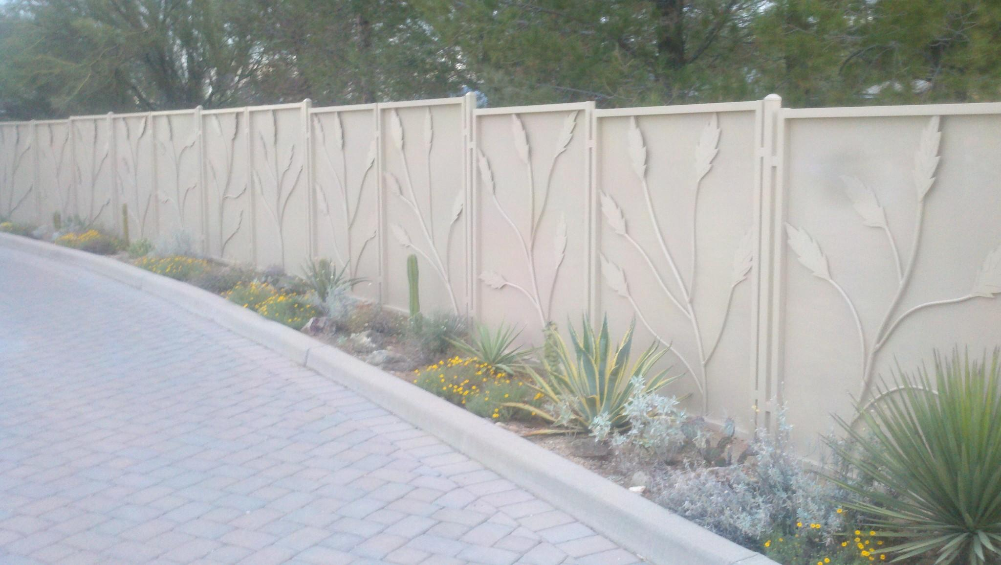 Iron fence with painted metal plates and ocotillo motif IF225