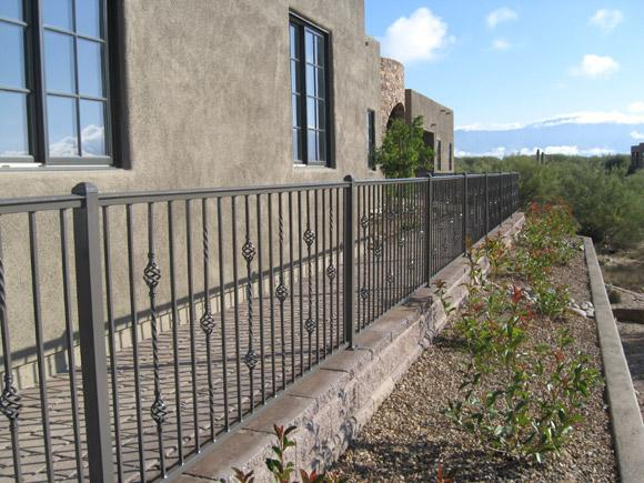 Iron Handrail with swirly knuckles - Installed in NW Tucson IF203