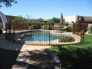 Ornamental iron pool fence