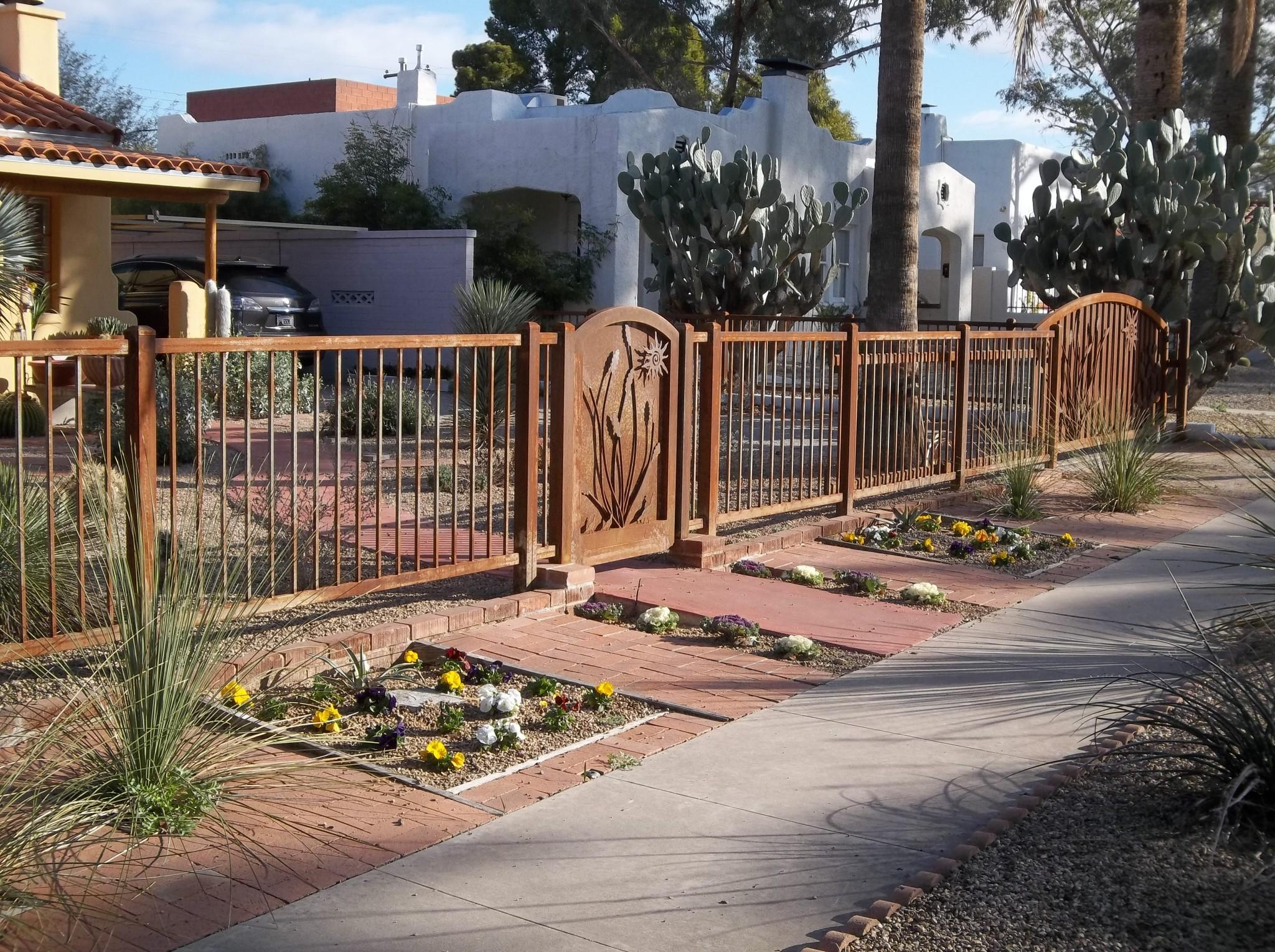 Ornamental rusted wrought iron fence and gate with ocotillo and sun motifs IF106-2