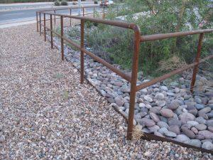 Simple pipe rail with rusted patina IF500 - Installed in Tucson