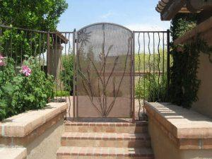 Pool Fence and Gate with ocotillo motif and trellis backing IF102-12 AW