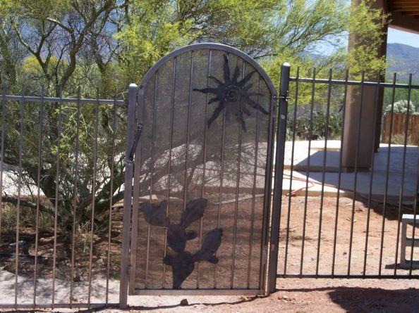 Pool Fence with Gate decorated with cactus and sun IF104 E/P