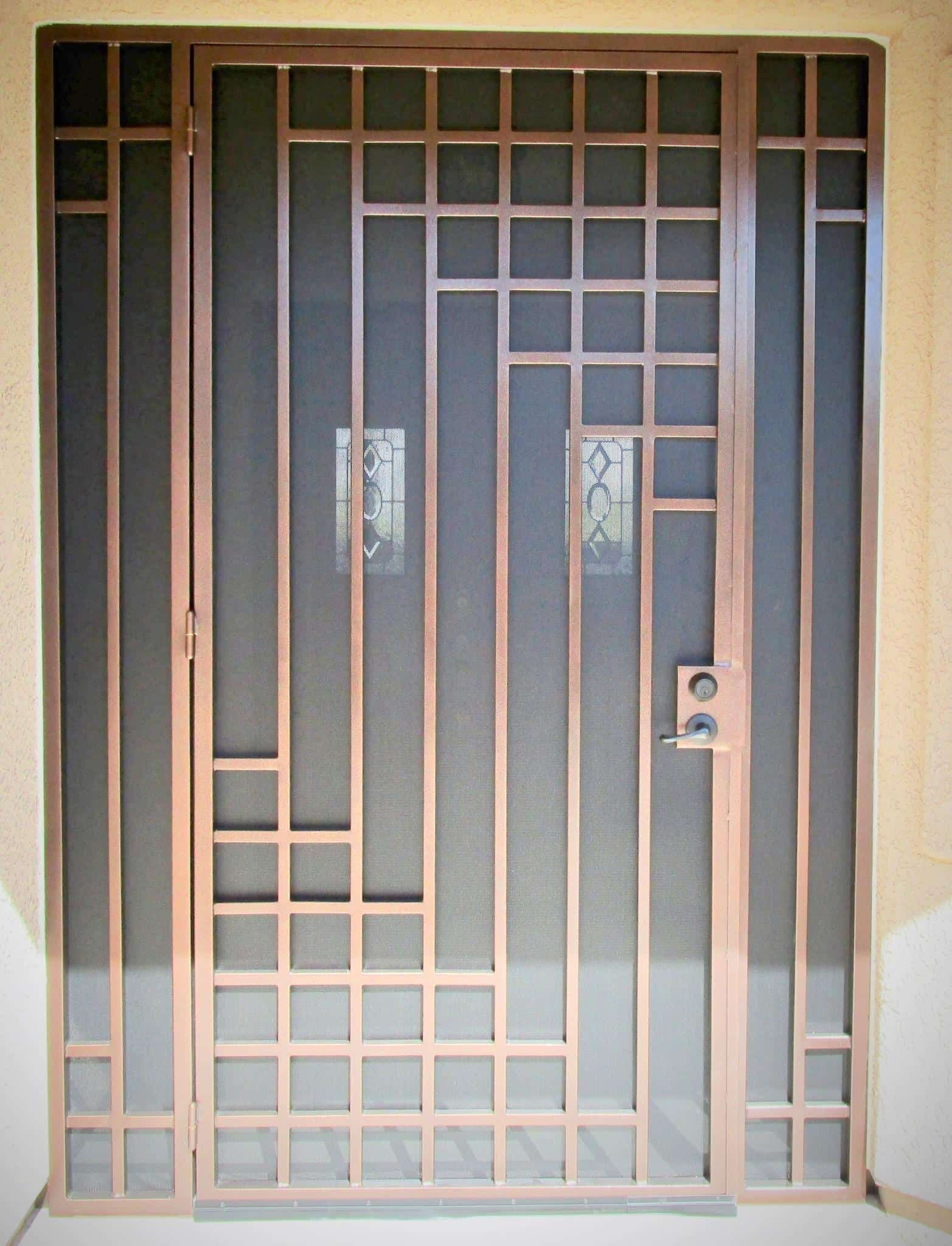 Porch enclosure and security door with geometric motif E711