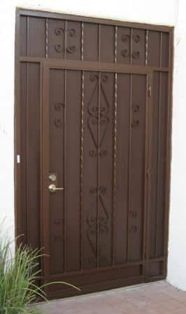Porch enclosure with security door and 3 panels decoraed with knuckles and swirls E10 - Made in Tucson