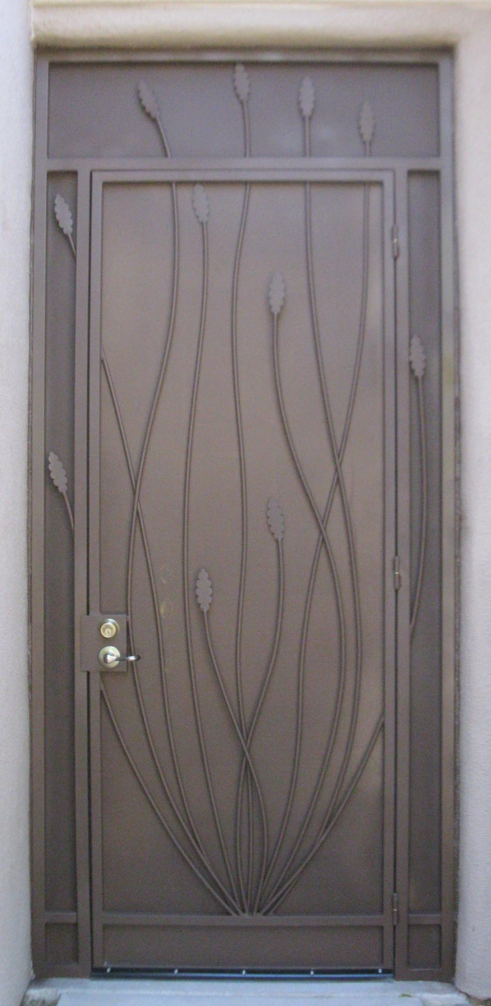 Security enclosure door with decorative ocotillo motif E212