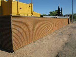 Corrugated Steel Fence | Metal Fence | Rusted Corrugated Metal Fence | Horizontal Set Corrugated Steel Fence