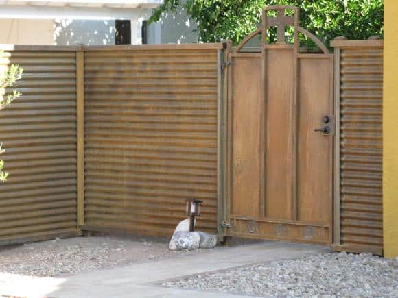 Corrugated Steel Fence | Metal Fence | Rusted Corrugated Metal Fence | Corrugated Steel Fence with Mission Style Gate