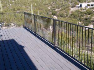 Wrought iron handrail on deck with a twist pattern - Installed in the Catalina Foothills IF207-2