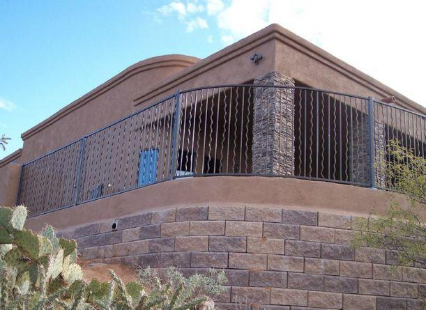 Wrought iron handrail over wall - Residential home in Tucson - IF102-10 AW