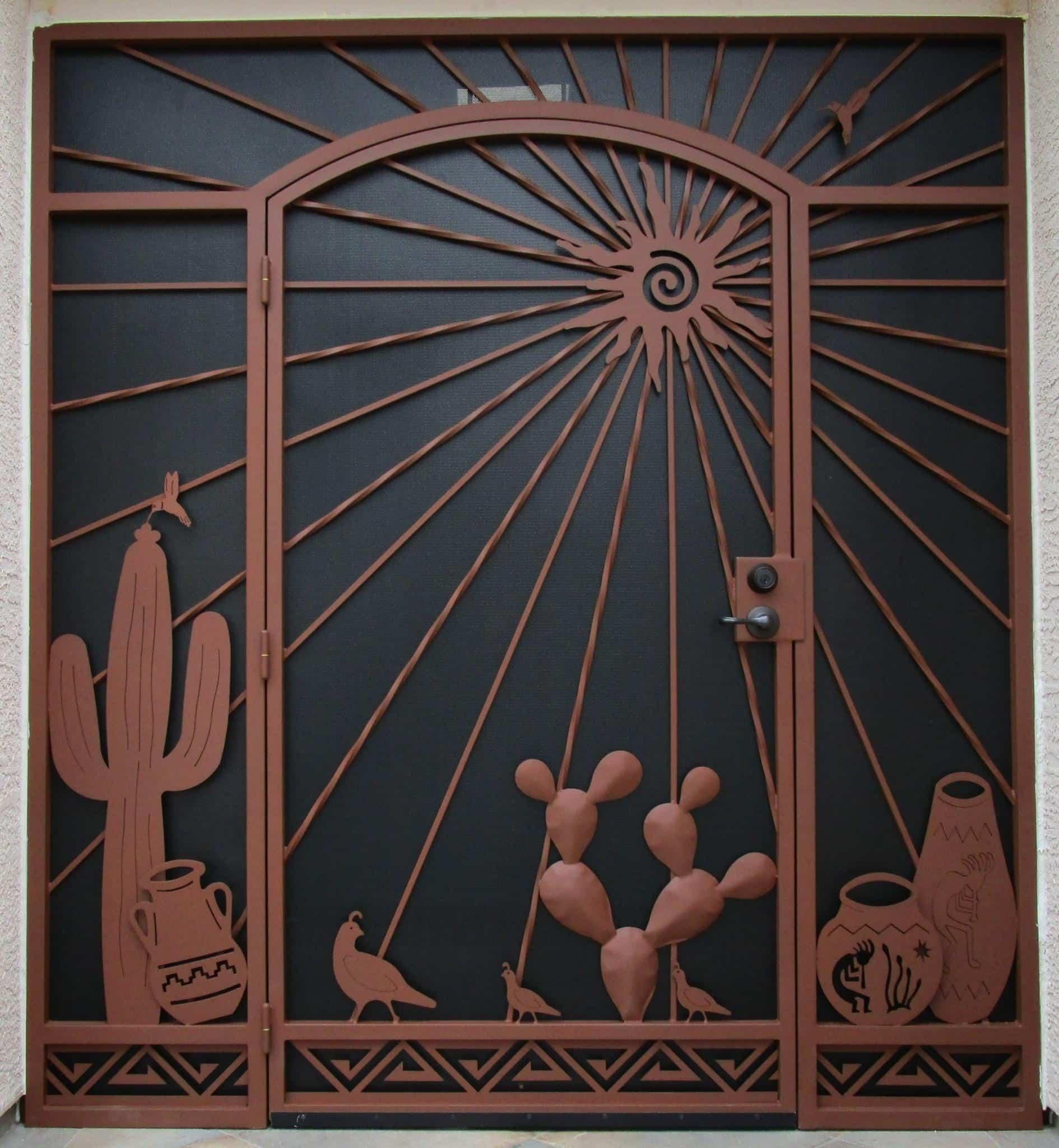Wrought iron security door and enclosure with decorative motifs: saguaro, hummingbird, cacti, Native American pottery and sun rays E441 - Made in Tucson