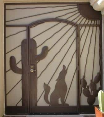 Wrought iron security enclosure with decorative motif: coyote, cactus, saguaro and sun E440 - Made in Tucson