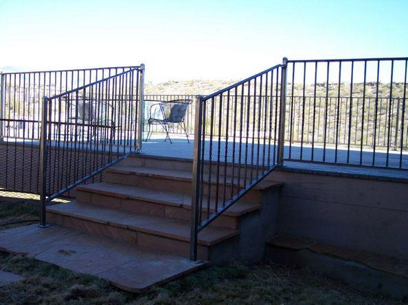 Wrought Iron Stair Rail on a Deck with Twisted Pickets IF207-4