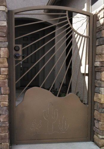 Wrought iron gate with mountain cutout, sun and cacti motif on kick plate - IG413