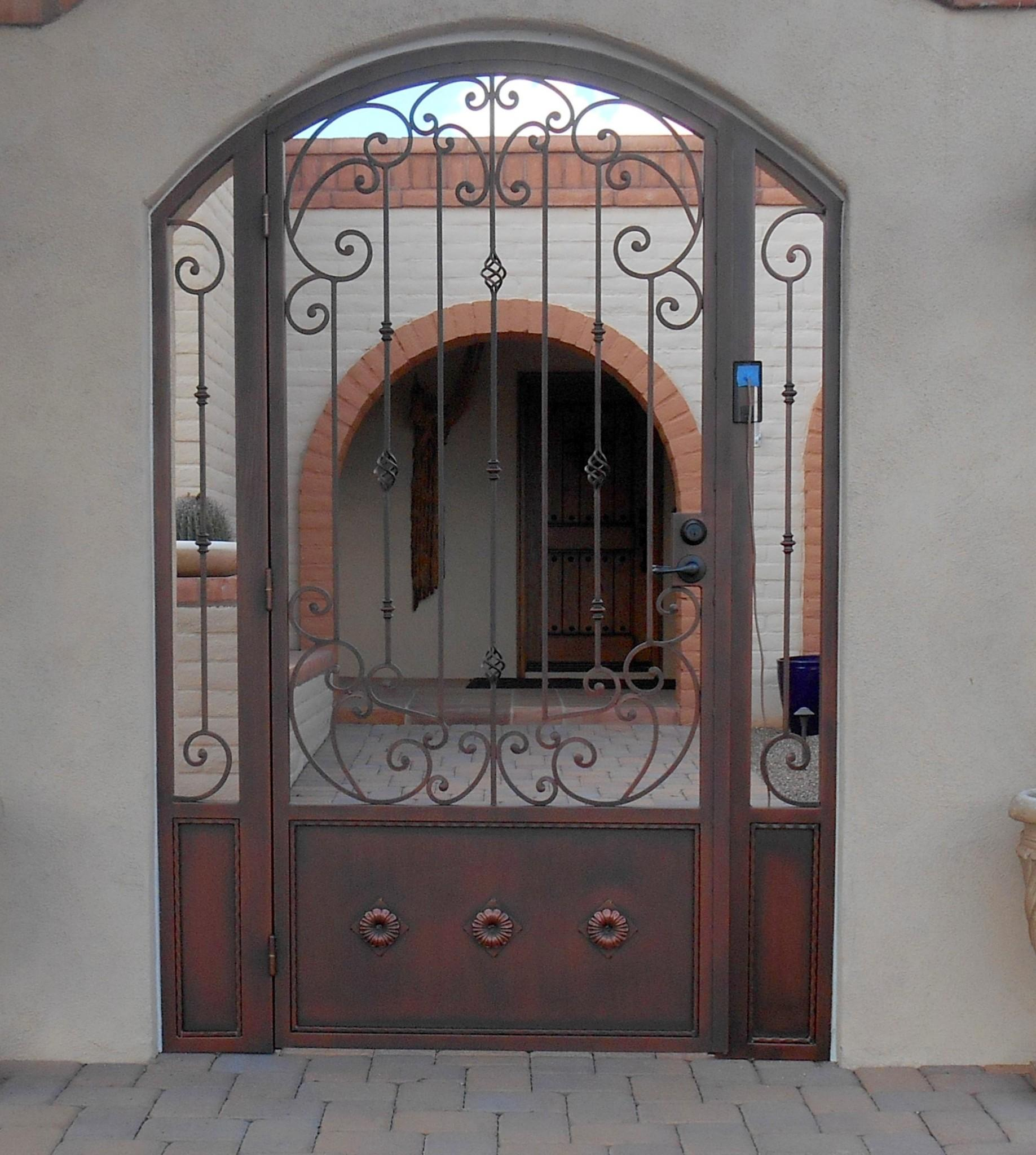 Custom Ornamental Iron Gate Tuscan Scrolls Powder Coated