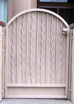 Arched top wrought iron gate white finish made in Tucson IG054