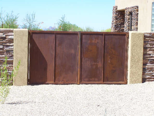 Double wrought iron gate with solid steel sheet backing made in Tucson IG052