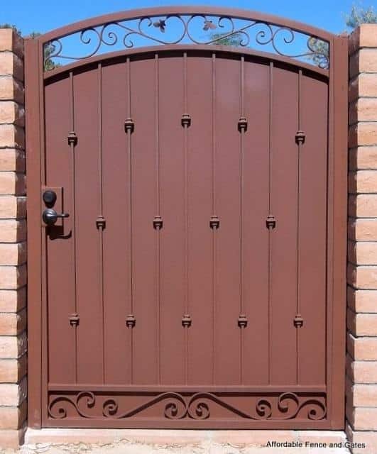 Ornamental Iron Gate | Single Metal Gate with Scrolls and Arch