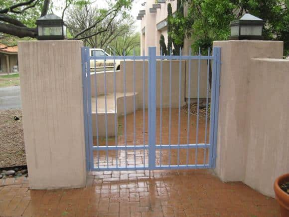 Painted double wrought iron gate installed in Tucson IG083