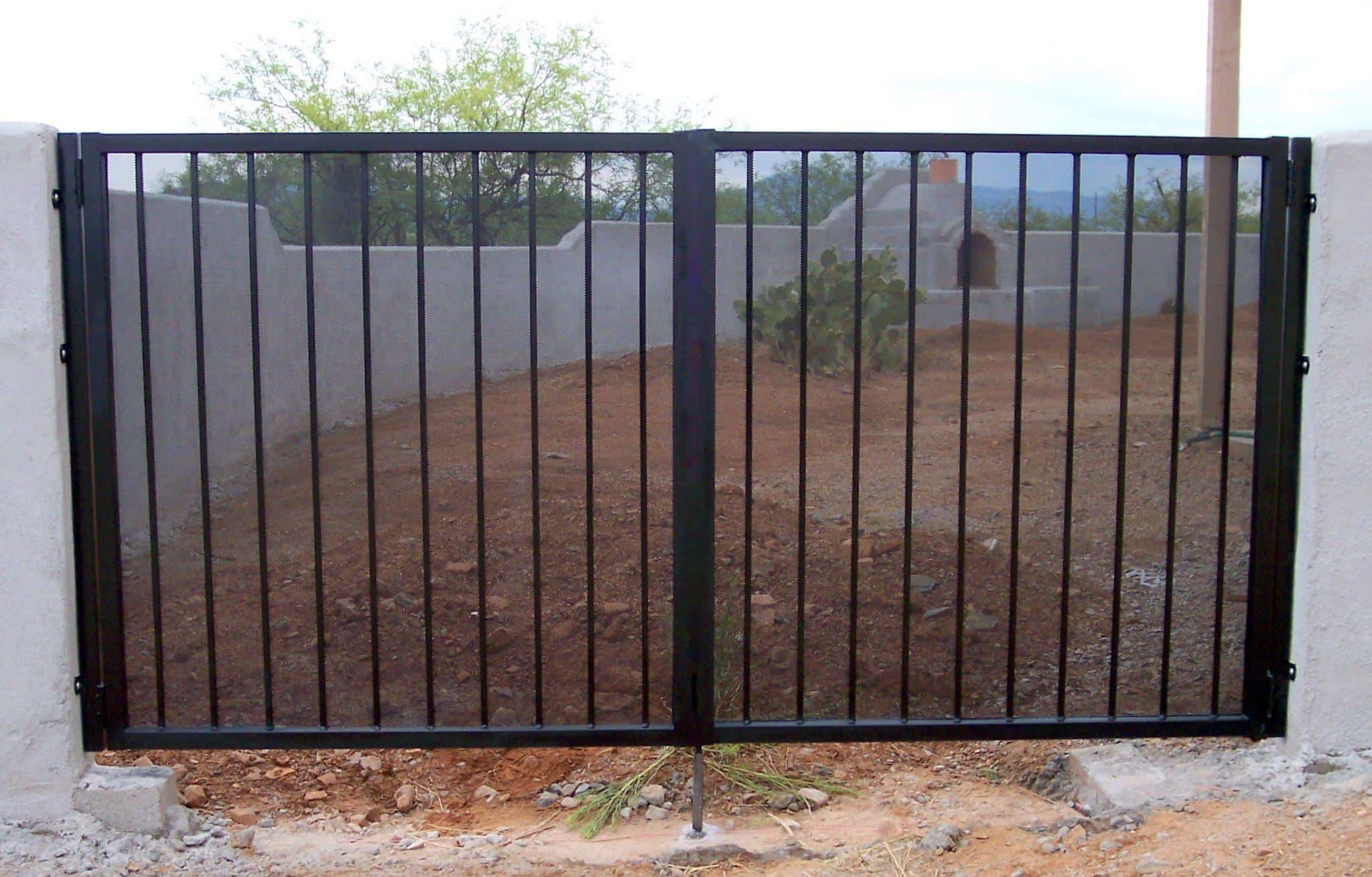 Simple double wrought iron gate in black finish with metal net Tucson IG001