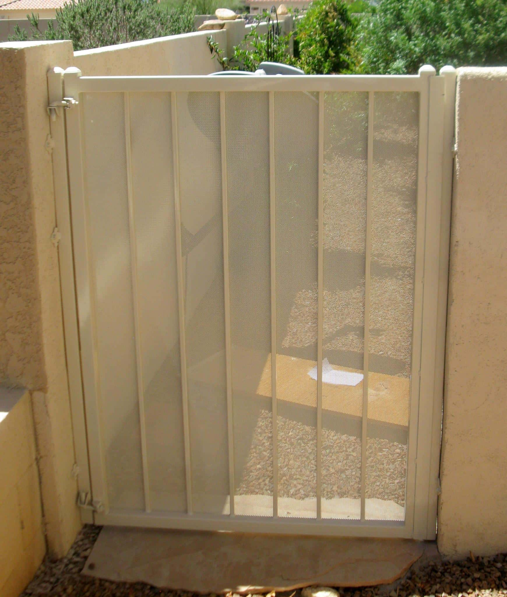 White finish wrought iron garden gate with perforated metal backing made in Tucson IG001-4