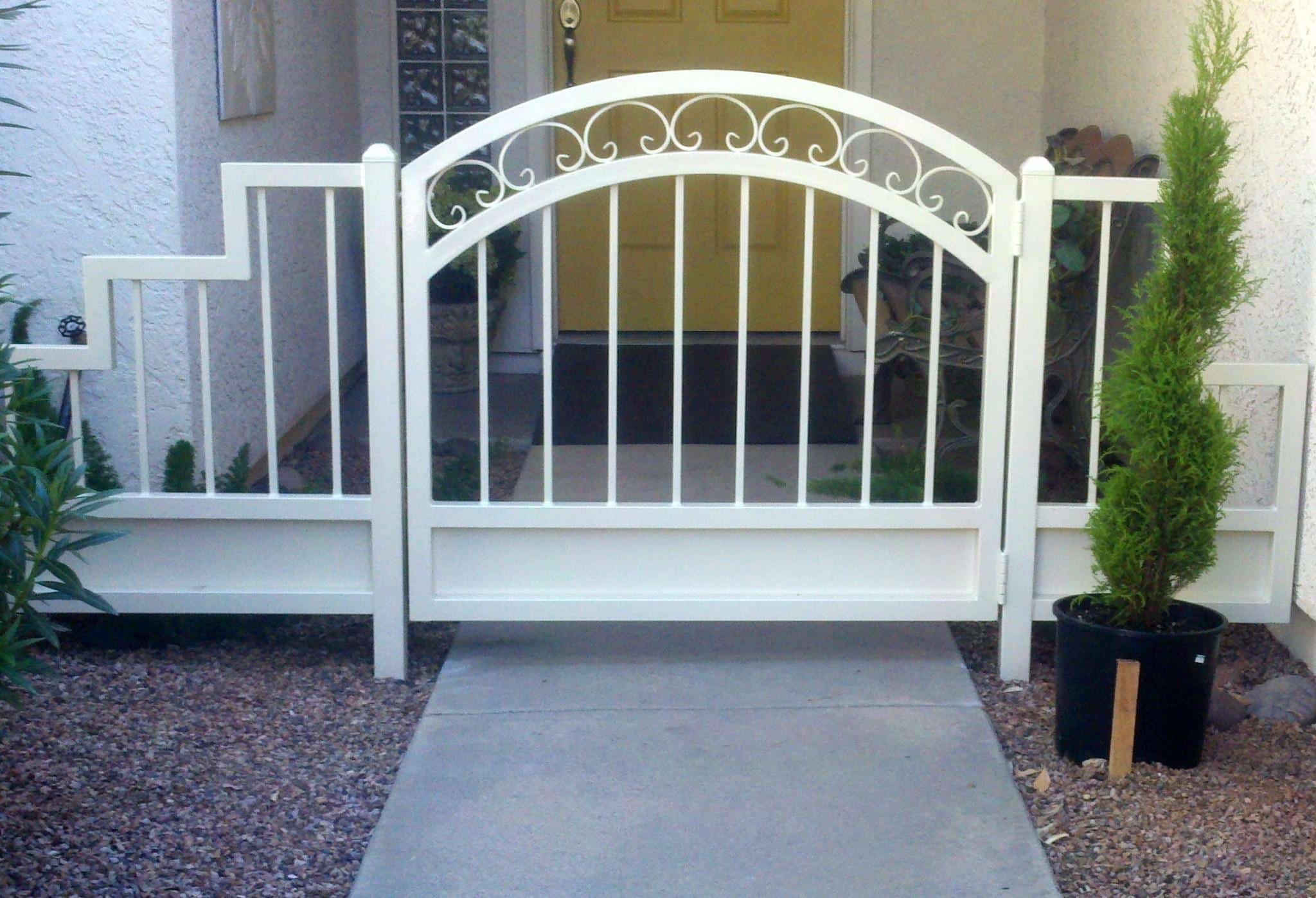Custom Ornamental Iron Gate With Scrolls | Tuscan Gate | Metal Gate | Gate With Arch | Powder Coated Gate | Gate With Side Panels