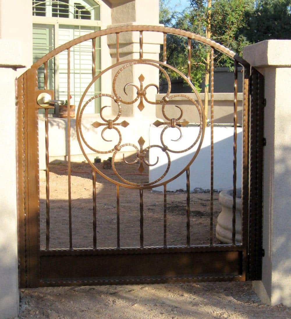 Custom Ornamental Iron Gate With Scrolls | Tuscan Gate | Metal Gate | Metal Gate with Arch | Powder Coated Gate