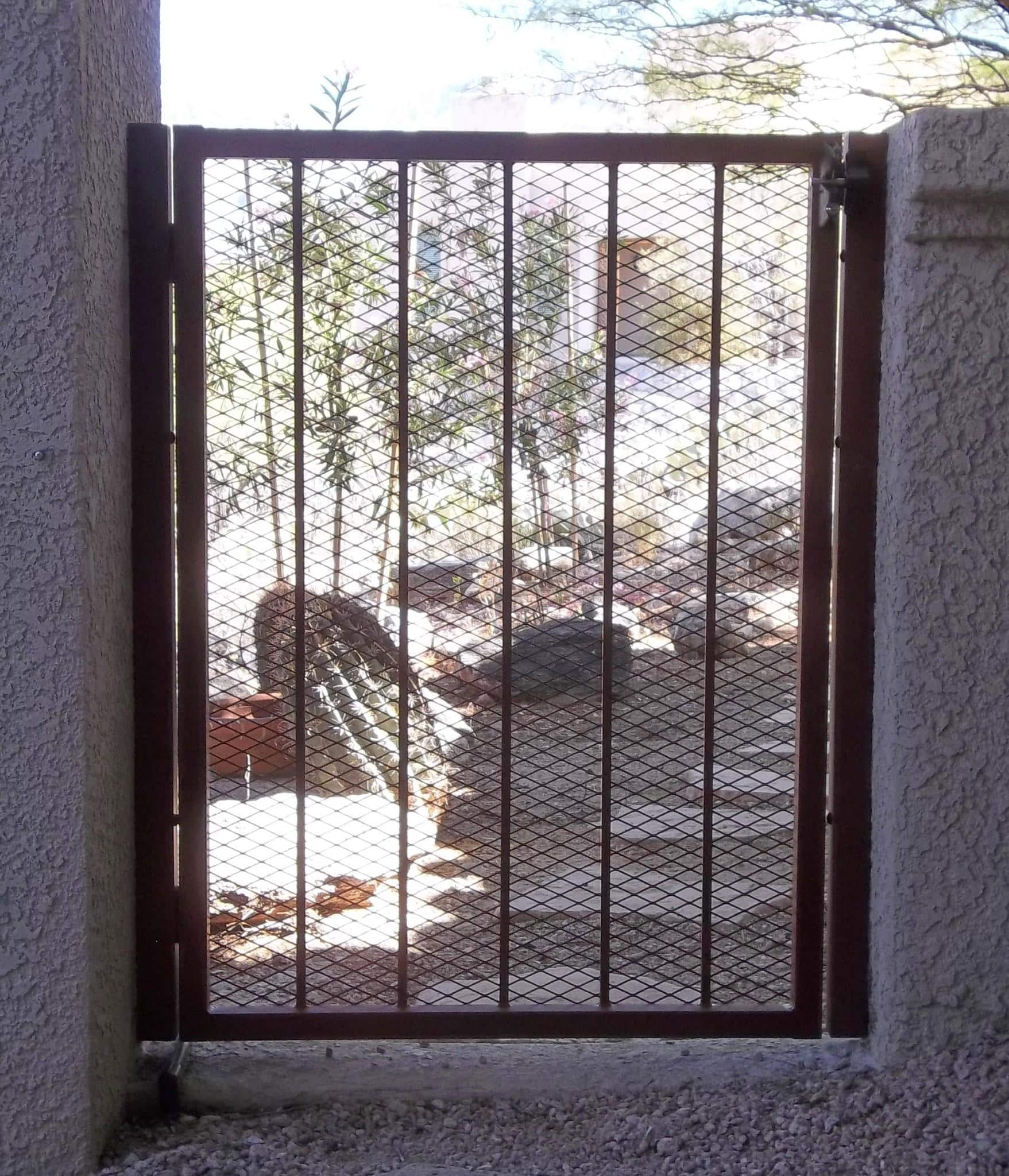 Wrought iron gate with expanded steel backing IG015