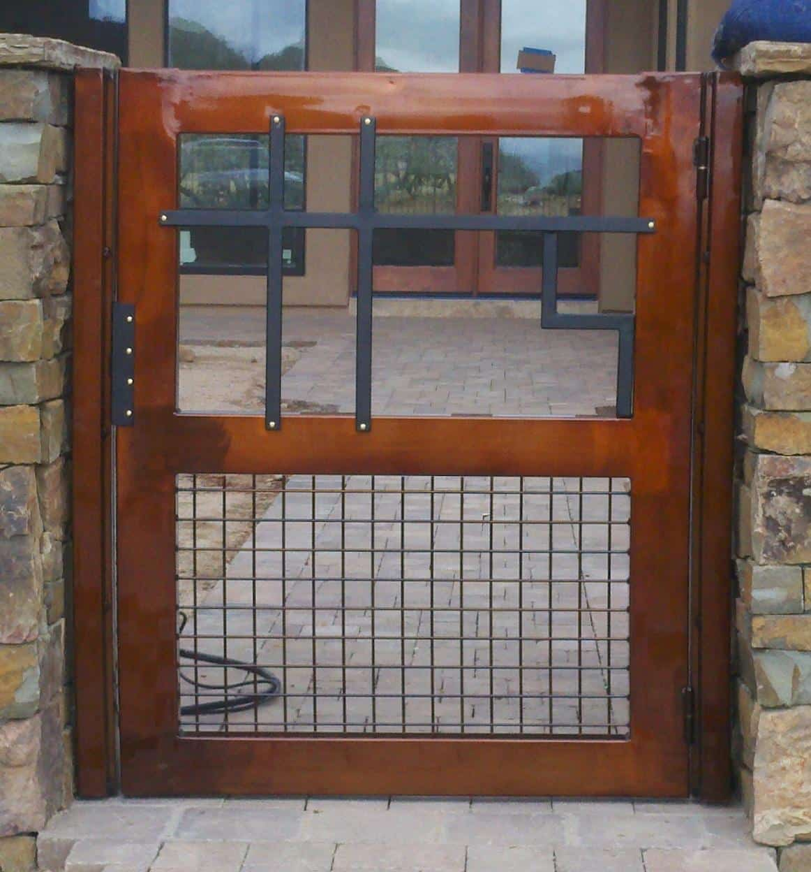 Wrought iron gate with geometric pattern and lattice work - made in Tucson IG107