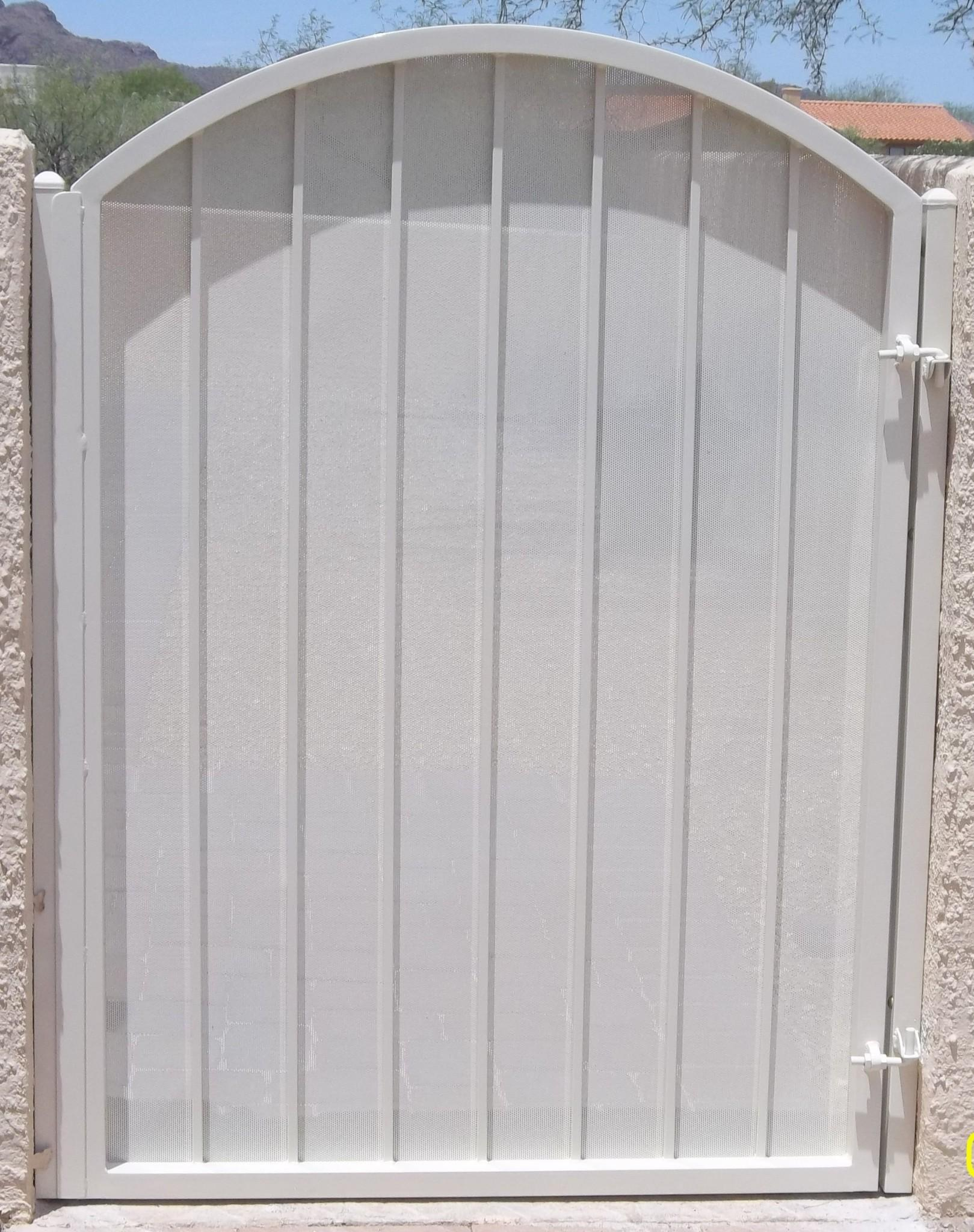 Wrought iron gate with metal backing white finish IG014