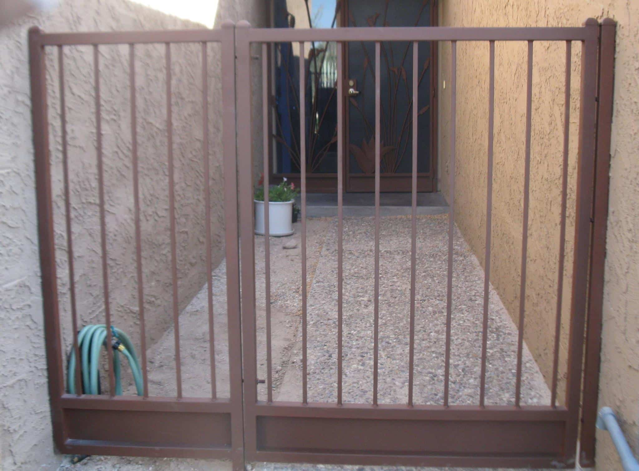 Wrought iron gate with side panel made in tucson IG019