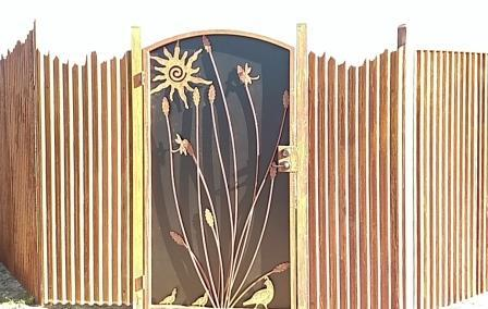 Affordable Fence & Gates | Signature Ironworks | Corrugated Steel Gate | Rusty Corrugated Steel Gate | Natural Rust Corrugated Steel Gate | Arch | Window Detail | Natural Rust Color