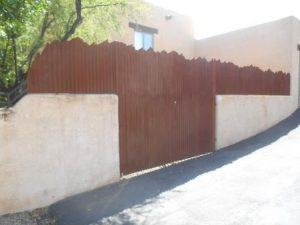 Corrugated Steel Fence with Mountain Top Design | Metal Fence | Rusted Corrugated Metal Fence