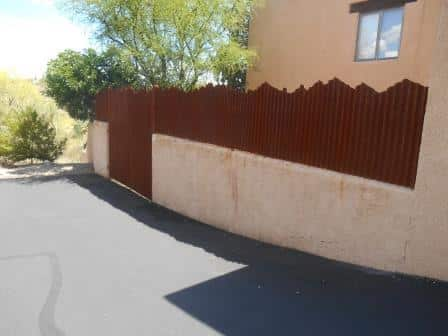 Corrugated Steel Fence with Mountain Top Design   Metal Fence   Rusted Corrugated Metal Fence