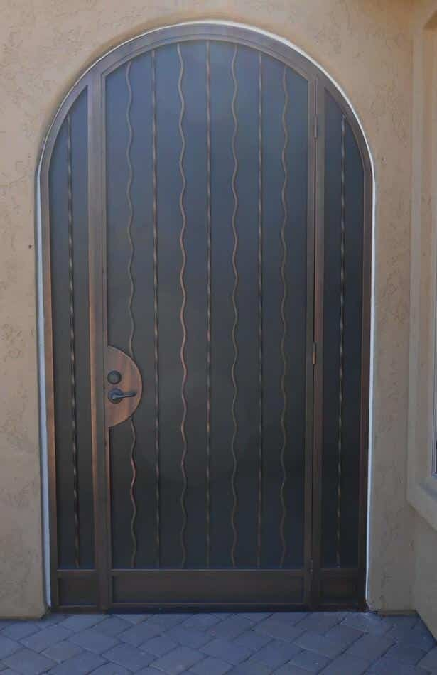 Arched Security Door with Alternate Wavy Pattern 5004 E - Built in Tucson