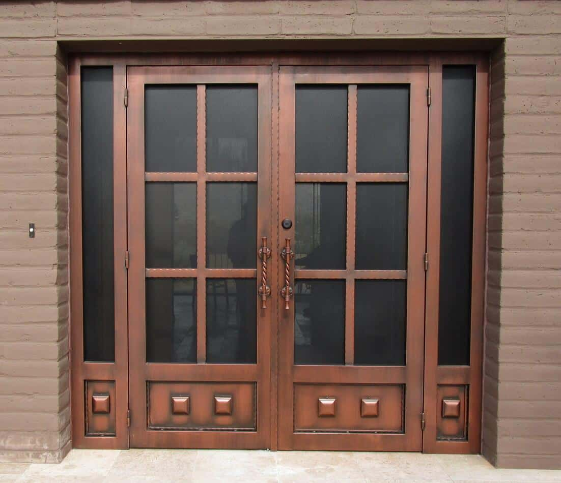 Double door security enclosure with twisted handles and other decorative elements 7014 E - Made in Tucson