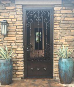 Patio enclosure security door with swirls IMG 0617